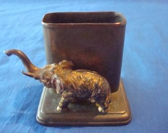 Vintage Antique Elephant Brass or Copper Match Holder Marked J.B.