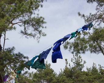Wash Day Amish Photograph, Clothes on the Line Laundry Room Art Decor, County Home, Green Blue Rustic