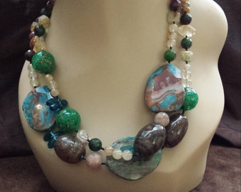 Two strand beaded necklace made with assorted semi precious stones