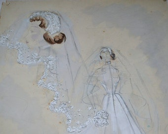 Bride, original watercolour, fashion, women in wedding dress,white and textured, french, vintage 50s, handpainted