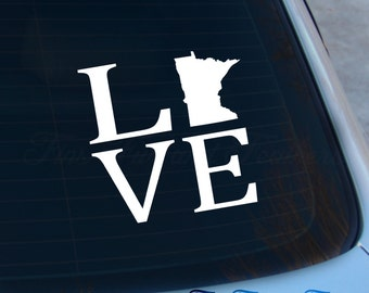 Love Minnesota Decal - State Decal - Home Decal - MN Sticker - Love - Laptop - Macbook - Car Decal