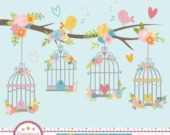 Floral birdcages , digital printable clipart