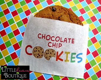 Chocolate chip cookie bags ,Cookie bag, Chocolate chip cookies, favor bag, Birthday party, Sweets, Treat bags