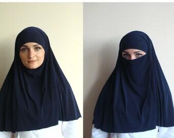 Transformator Hijab, Niqab Transformator, dunkel blau Niqab, dunkel blau Niqab, traditionelle Hijab, 1 Stück Hijab, bereit, Hijab, Gebet Schal zu tragen
