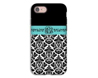 Monogram iPhone 8 case, iPhone 8 Plus case, damask iPhone 7 Plus case, iPhone X case, iPhone 6s Plus case/6s case, 3D iPhone case
