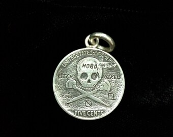Leech's Hobo Nickels- Sterling Silver Buffalo / Indian Head Hobo Nickel With Skull Back