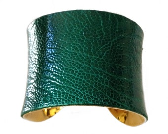 Green Ostrich Leather Cuff Bracelet - by UNEARTHED