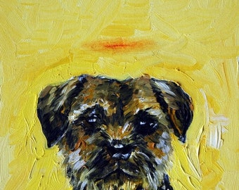 25% off border terrier dog signed art print animals impressionism gift new angel halo memorial 13x19