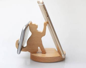 Wooden Cat Phone stand