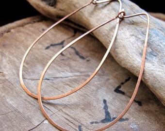 Tear Drop Hoop Earrings - Extra Large Teardrop Hoops - Copper Hammered Ear Wires 2 / 2.25 inch  / Large Oval Hoop Earrings