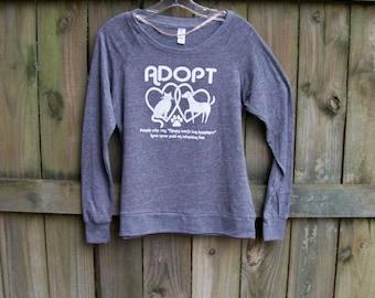 Pet, Womens tshirt, Adopt shirt, womens pullover, Animal Rescue shirt, grey, hearts, love, Slouchy Raglan Pullover, cat shirt, dog shirt
