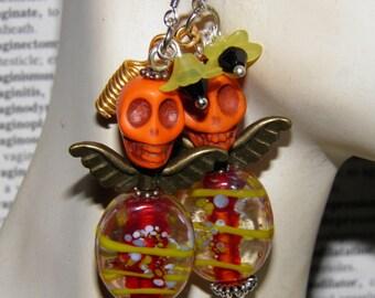 Day of the Dead Earrings, Orange Turquoise Angel Skull Jewelry, Dia de los Muertos Day of the Dead Jewelry Halloween Earrings
