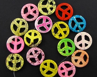 """25mm multicolor turquoise peace sign coin beads 16"""" strand 4325"""