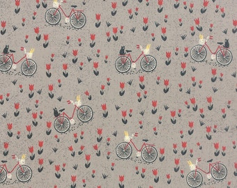 Mon Ami Bicyclette in Gris, Bicycle in Green, BasicGrey, 100% Cotton, Moda Fabrics, 30413 19