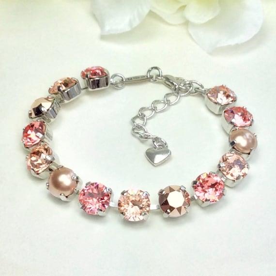 Swarovski Crystal 8.5mm Bracelet  -  Peachy, Rose Gold, Rose Gold Pearls - Gorgeous Bridesmaid Gift! -Designer Inspired - FREE SHIPPING