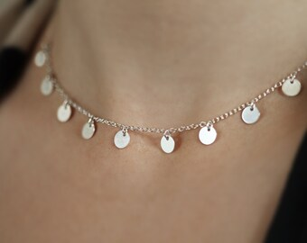 Multi Disc Necklace, Dainty Choker Chain Necklace, Layering Tiny Dots, Sterling Silver Choose 5-9 Discs