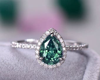Pear Shape Alexandrite Engagement Ring Sterling Silver 14k White Gold Halo Wedding CZ Diamond Half Eternity Bridal Promise Rings Anniversary