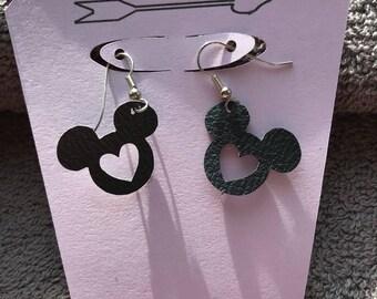 Faux Leather Mickey Inspired dangle Heart Earrings