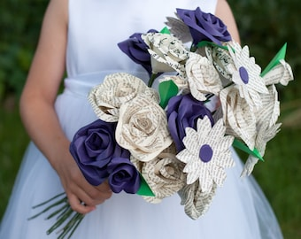 Custom Mixed 18 Paper/ Book Page Flower Bouquet