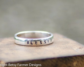 Personalized Hand Stamped Ring - Sterling Silver