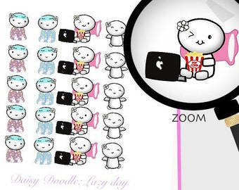 Lazy day planner stickers Emoti stickers Doodle stickers