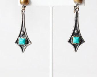 1950s Earrings / Vintage 50s Faux Turquoise Dangle Earrings / Sancrest Earrings