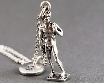 Statue of David Michelangelo necklace, initial necklace, initial hand stamped, personalized, antique silver, monogram