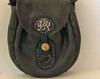 Black soft leather pouch