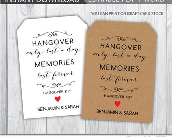 hangover kit tags, wedding hangover kit favor tags, wedding favor tags, hangover kit label, hangover lasts only a day, memories last forever