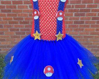 Super Mario Tutu Dress - Super Mario Halloween Costume - Super Mario Costume for Toddlers - Super Mario Outfit - Super Mario Dress