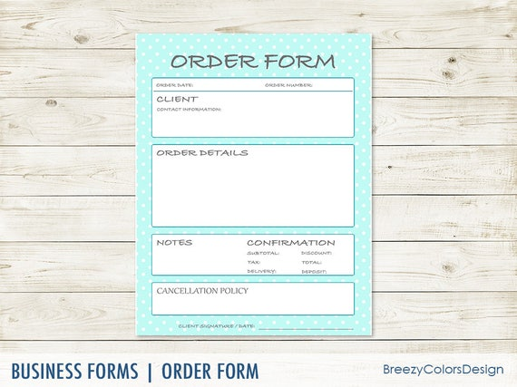 Perfect Simple Order Form Templates, For Business Owner, Retailer Shop Sellers,  Home Studio, Blank Sheet DIY, 8.5x11 Printable PDF, Instant Download