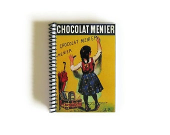 Chocolat Menier Notebook A6 Spiral Bound - Blank Recipe Book, 4x6 Inches, Pocket Writing Journal, Sketchbook, Back to School, Gifts Under 20