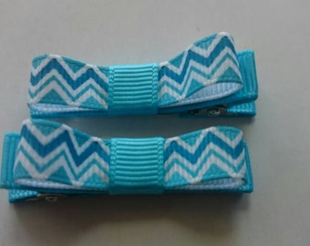 Toddler/Girl/Adult Non Slip Hair Clips - Mary Jane Hair Clip Set of 2 - Turquoise and White Chevron on White