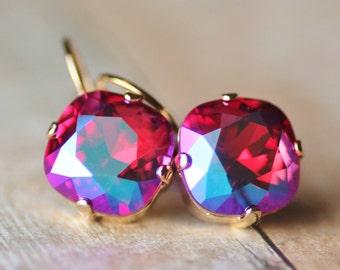 NEW Fuschia Glacier Blue Swarovski Cushion Earring,Lever Back,Rhinestone Crystal Drop Earring,Hot Bright Pink,Gold Lever Back,Antique Square