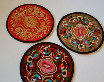 3 Chinese embroidered coasters
