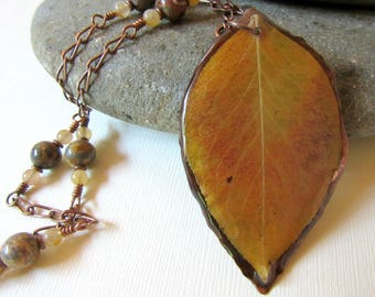 Autumn Leaf on Hammered Copper Frame Pendant, Real Pear Leaf Necklace, Fall Leaf Jewelry, Copper Links and Jasper Chain, Resin Jewelry
