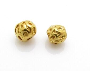 4 Pcs, 3.7mm, 24K Gold Vermeil Bead