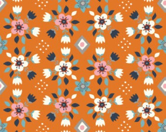 Organic Cotton Fabric - Birch Wildland Poplin - Flowerbed Orange