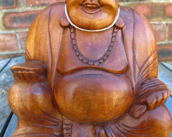 Wooden Happy BUDDHA STATUE Figure 20 cm CHINESE Laughing Sitting Hand Carved B