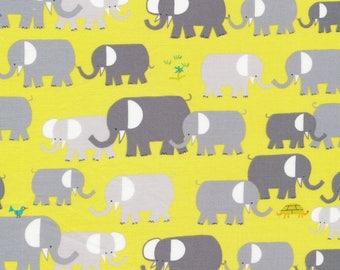 "55"" LAMINATE Gray and Lime Elephant Print Laminate Cotton from Cloud 9 Fabrics"