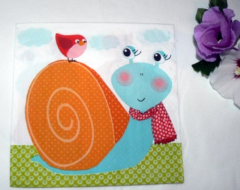2 Napkins  from Germany Snail with bird
