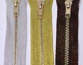Metallic Zips in Silver, ...