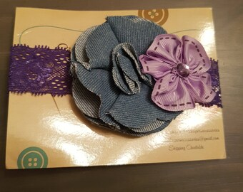 Denim & Lace headband