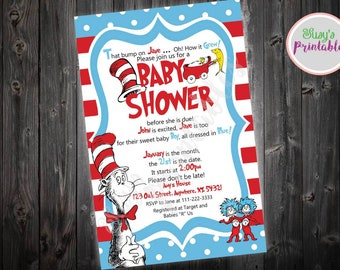Dr Seuss Baby Shower Invitation, Dr Seuss Cat in the Hat Party Invitation, Boy Baby Girl Baby Shower Invitation,  Printable Invitation