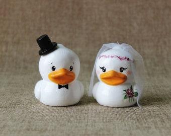 Ducks Wedding Cake Topper: Duck cake topper - Personalized wedding cake topper - Funny cake topper - Custom cake topper - Pet cake topper