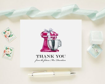 Fuchsia Pink Stand Mixer Bridal Shower Personalized Wedding Thank You Cards, Bridal Shower, Wedding, Newlywed Future Mrs. Note Cards