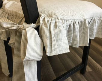 Linen Ticking Striped Chair Slipcover with Ruffles and Ballerina Ties –Alluring