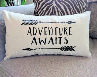 Adventure Awaits Cotton Canvas Natural Lumbar Pillow | Nursery Pillow | Nursery Decor | Kids Room Decor | Baby Shower Gift | Baby Gift
