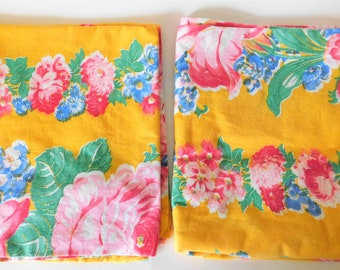 Vintage Pillowcase Set Tropical Floral Print