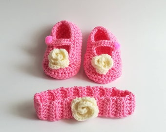 Crochet baby booties and headband, baby shoes, baby Mary Janes shoes, baby girl ballerinas, newborn baby shoes, shower gift,outfit  set gift